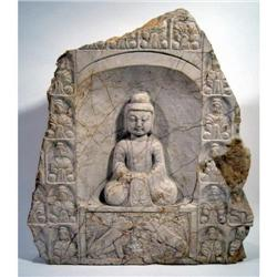 A SUPERB TANG DYNASTY MARBLE STELE,