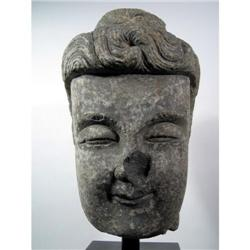 A RARE SUI TO EARLY TANG DYNASTY GREYSTONE HEAD OF BUDDHA,