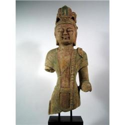 A SPLENDID SUI DYNASTY SCULPTURE OF QUANYIN,