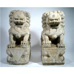 TWO SPLENDID LATE CHING DYNASTY SHI SHI LIONS,