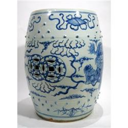 A CHING DYNASTY PORCELAIN STOOL,