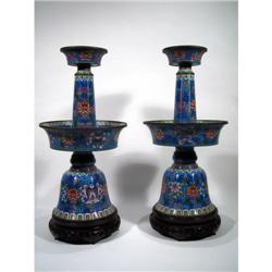 TWO FINE LATE CHING DYNASTY CLOISONNÉ CANDLE STANDS,