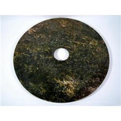 AN OUTSTANDING LARGE CHINESE NEOLITHIC JADE PI DISC,