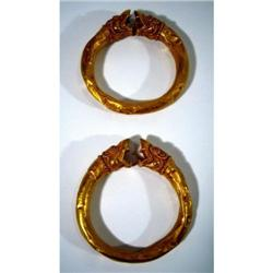 TWO EXCEPTIONAL AND RARE GANDHARAN GOLD ARM BANDS,