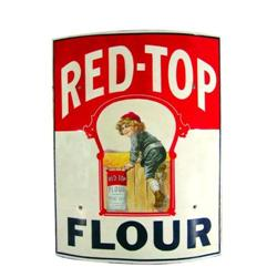 Rare Red Top Flour Curved Porcelain Sign