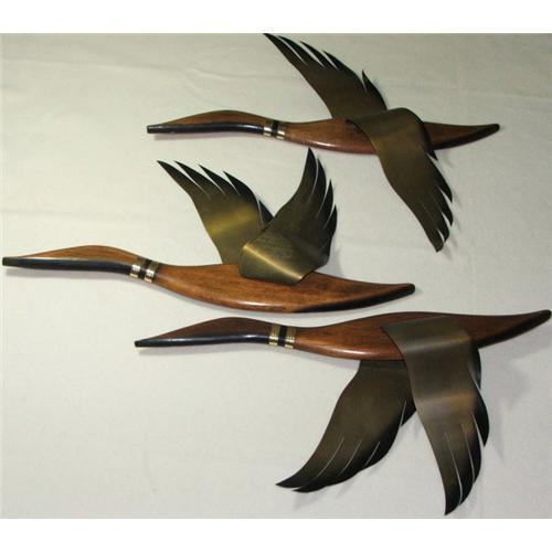 Mid Century Wall Decor mid-century walnut & brass geese wall decor #1738012
