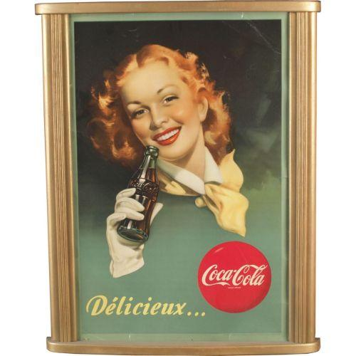 1950\'s Coca-Cola Poster French in Orig Wood Frame