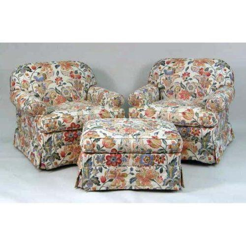 TWO OVERSTUFFED ARM CHAIRS AND MATCHING SINGLE OTTOMAN