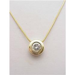 Bezel set diamond pendant .57Ct