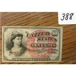 1869-75 4th Issue 10 Ct. Fract.Currency