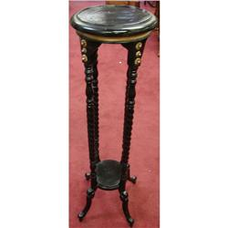 2 Black painted Wooden Plant Stands