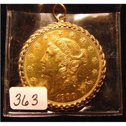 1900 $20 Liberty Gold in 14kt. Rope Bez