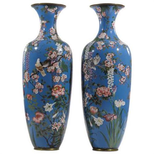 A Pair Of Monumental Japanese Cloisonne Vases