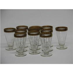 11 Tiffin Gold Encrusted Crystal Stemware ca. 1925