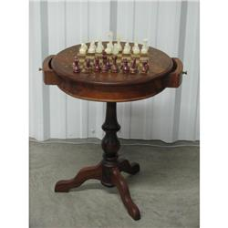 Brass Inlaid Chess Table Marble Chessmen