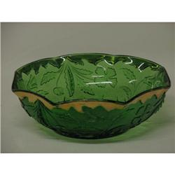 Depression Pattern Glass Green Gilded Bowl