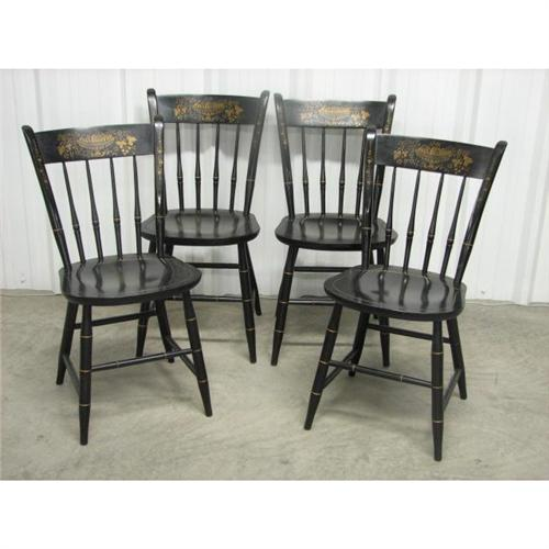 Black Stencil Back Hitchcock Chairs 4