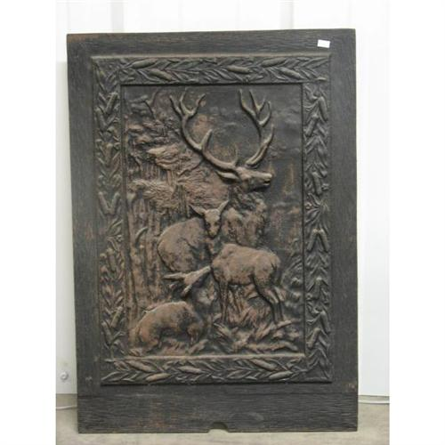 Charleston Cast Iron Fireplace Cover Deer Motif - Seymour Auctions