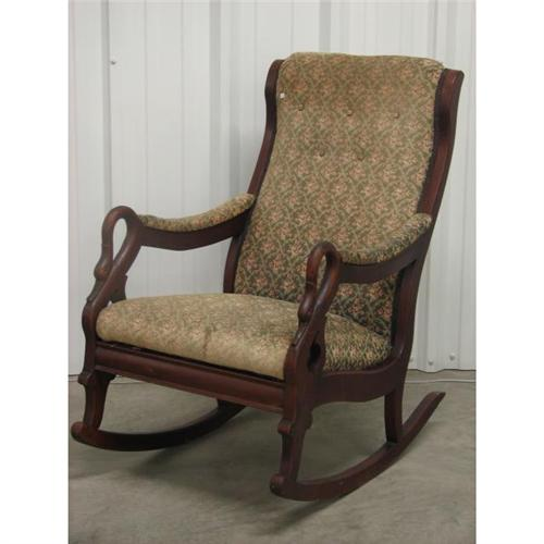 Walnut upholstered swan neck rocker
