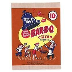 old vintage 1950s BLUE BELL BBQ potato chip bag#1802634