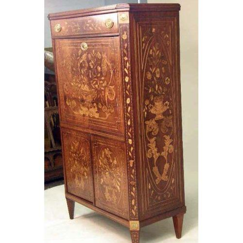 a neoclassical string inlaid marquetry mahogany secretaire a abattant. Black Bedroom Furniture Sets. Home Design Ideas