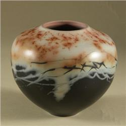 SHELLIE HOFFER BULBOUS SAGGAR POTTERY VASE