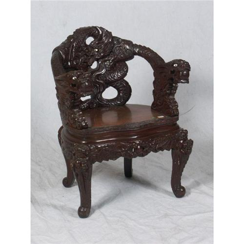 - 20TH CENTURY CHINESE CARVED DRAGON CHAIR