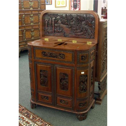 ASIAN CARVED BAR CABINET