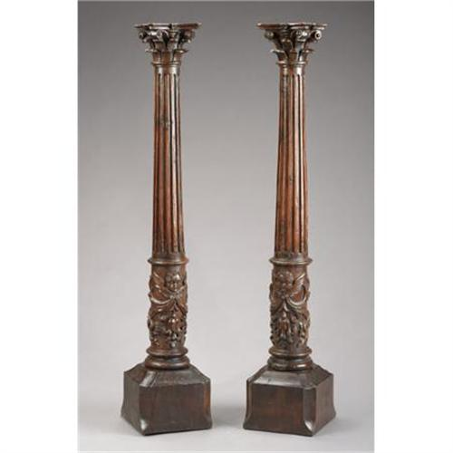 A pair of italian baroque style carved walnut for Italian baroque interior design