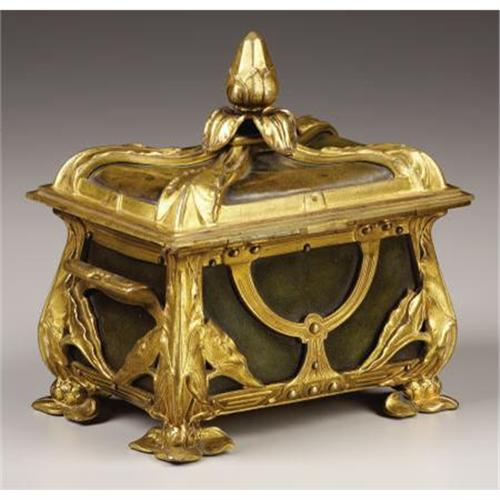 An Art Nouveau Gilt Bronze Jewelry Box