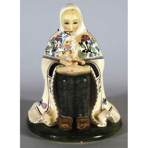 Lenci Ceramic Figure Of Mother And Child