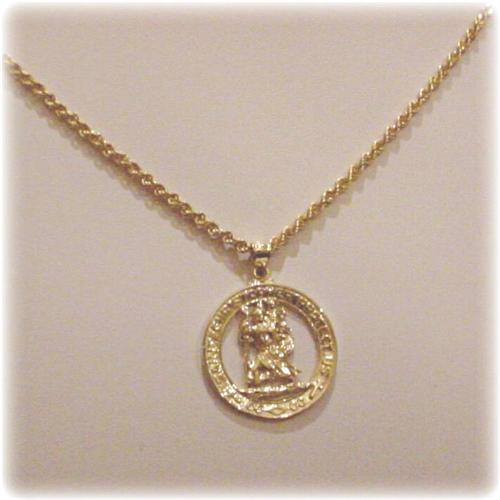 Mens 14k gold st christopher pendant necklace mens saint solid aloadofball Gallery