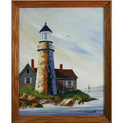 Lighthouse on Rocky Shore by Richard Cornwell #1890654