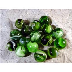 BB Marbles: 16 Akro Green Slags