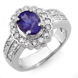 ACA CERTIFIED 2.60ct DIAMOND & TANZANITE RING 14K GOLD