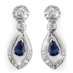 CERTIFIED 1.36ctw DIAMOND & BLUE SAPPHIRE EARRINGS GOLD