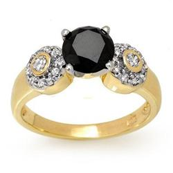 CERTIFIED 1.90 ctw WHITE & BLACK DIAMOND RING 14KT GOLD