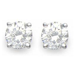 CERTIFIED 2.0ctw DIAMOND STUD EARRINGS WHITE GOLD 14KT