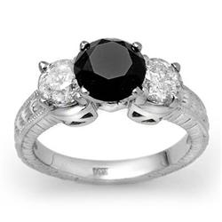 CERTIFIED 3.80 ctw WHITE & BLACK DIAMOND RING 14KT GOLD