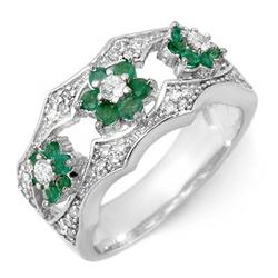 FAMOUS 0.85ctw ACA CERTIFIED DIAMOND & EMERALD RING