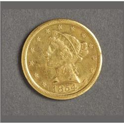 1854-D $5 GOLD HALF EAGLE FROM DAHLONEGA MINT
