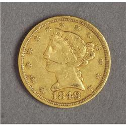 1849-D $5 GOLD HALF EAGLE FROM DAHLONEGA MINT