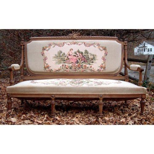 Antique Tapestry Sofa: Antique Carved French Tapestry Settee Sofa