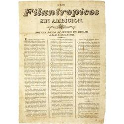 Earliest Texas Imprint; 1823; Los Filantropicos