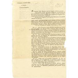 Mexican Broadside, Decree dated Feb. 4, 1824