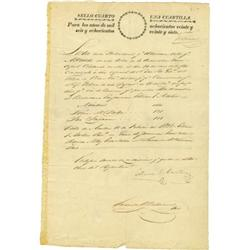Stephen F. Austin Signed Official Report; 1828