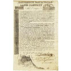 Galveston and Texas Land Co. Certificate; 1830