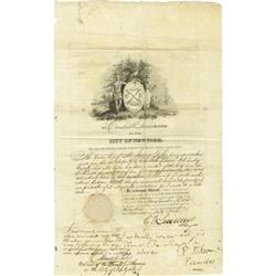 Alamo Defender James Tylee Certificate; 1834