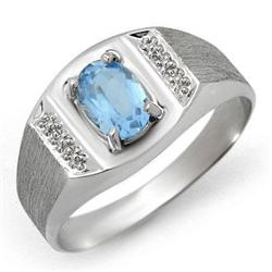 CERTIFIED 2.00 ctw BLUE TOPAZ MEN'S RING WHITE GOLD