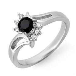 ACA CERTIFIED .53ct WHITE/BLACK DIAMOND RING WHITE GOLD
